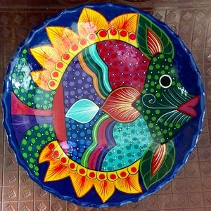 Other - Colorful Mexican Hand-Made Footed Ceramic Bowl